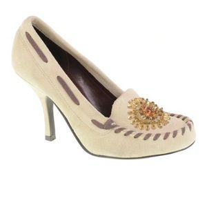 Chinese Laundry Suede Moccasin Pump 'Cammie' Stone